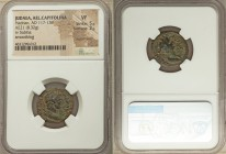 JUDAEA. Aelia Capitolina (Jerusalem). Hadrian (AD 117-138), with Sabina. AE (20mm, 8.32 gm, 4h). NGC VF 5/5 - 2/5, repatinated, smoothing. Ca. AD 130-...