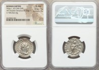 Philip I (AD 244-249). AR antoninianus (23mm, 5.53 gm, 1h). NGC Choice AU 5/5 - 4/5. Antioch, AD 247. IMP PHILIPPVS AVG, radiate, draped and cuirassed...