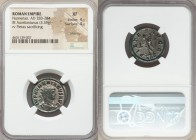 Numerian, as Augustus (AD 283-284). AE antoninianus (22mm, 3.35 gm, 5h). NGC XF 4/5 - 4/5, Silvering. Rome, 4th officina. IMP NVMERIANVS AVG, radiate,...
