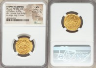 Phocas (AD 602-610). AV solidus (22mm, 4.07 gm, 7h). NGC MS 3/5 - 4/5, clipped. Constantinople, 3rd officina, AD 607-609. o N FOCAS-PЄRP AVG, crowned ...