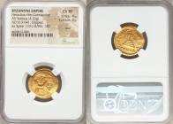 Heraclius (AD 610-641) with Heraclius Constantine. AV solidus (20mm, 4.33 gm, 7h). NGC Choice XF 4/5 - 3/5, bent, clipped. Constantinople, 5th officin...