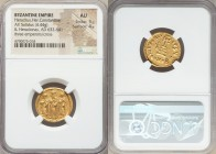 Heraclius (AD 610-641), with Heraclius Constantine and Heraclonas. AV solidus (21mm, 4.44 gm, 7h). NGC AU 5/5 - 4/5. Constantinople, 6th officina, ca....