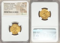 Justinian II, first reign (AD 685-695). AV solidus (20mm, 4.34 gm, 7h). NGC AU 3/5 - 3/5, crimped, clipped, die shift. Constantinople, 5th officina, A...