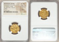 Constantine V Copronymus (AD 741-775), with Leo IV. AV solidus (18mm, 3.83 gm, 6h). NGC Choice AU 5/5 - 2/5, clipped, graffito. Constantinople, AD 757...