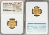Nicephorus I and Stauracius (AD 803-811). AV solidus (21mm, 4.42 gm, 6h). NGC MS 4/5 - 5/5. Constantinople, AD 803-811. hICI-FOROS bASILЄ', crowned fa...