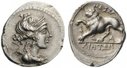GREEK COINS   Gaul   Massalia, c. 130-121 BC. Drachm (Silver, 18mm, 2.41g 6). Diademed and draped bust of Artemis to right, wearing pendant earring a...