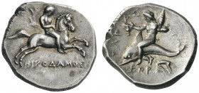 GREEK COINS   Calabria   Tarentum, c. 281-270 BC. Stater (Silver, 21mm, 7.84g 5), magistrates Nikodamos, Eu... and Xor.... Nude youth riding horse ga...
