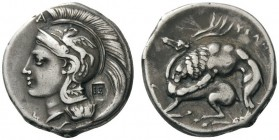 GREEK COINS   Lucania   Velia , c. 280 BC. Didrachm (Silver, 20mm, 7.42g 1). Head of Athena to left, wearing crested Attic helmet adorned with Pegasu...