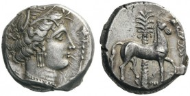 GREEK COINS   Sicily   Entella , Punic issues,  c. 345/38-320/15 BC. Tetradrachm (Silver, 22mm, 17.22g 3). Head of Tanit-Persephone to right, wearing...