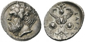 GREEK COINS   Sicily   Katane, c. 415/3-404 BC. Litra (Silver, 12mm, 0.84g 6). Head of Silenos to left, wearing ivy wreath. Rev. ΚΑΤΑΝΑΙΩΝ Winged thu...