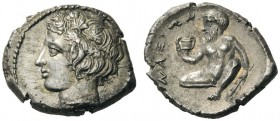 GREEK COINS   Sicily   Naxos, c. 420-403 BC. Hemidrachm (Silver, 13mm, 2.09g 6). Head of the youthful river-god Assinos to left, wearing wreath of pa...