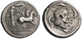 GREEK COINS   Sicily   Syracuse, c. 415-405 BC. Gelon I,  485-478 BC. Tetradrachm (Silver, 29mm, 17.24g 12), c. 485-483. Male charioteer, wearing a l...