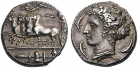 GREEK COINS   Sicily   Syracuse, c. 415-405 BC. Dionysios I,  405-367 BC. Dekad­rachm (Silver, 33mm, 43.17g 6), signed on the reverse by Kimon, c. 40...
