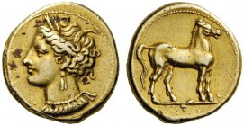 GREEK COINS   Zeugitania   Carthage, c. 310-270 BC. Stater (Elec­trum, 19mm, 7.53g 12). Head of Tanit to left, wearing grain wreath, triple pendant e...