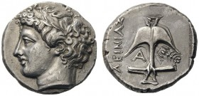 GREEK COINS   Thrace   Apollonia Pontika, mid 4th century BC. Tetradrachm (Silver, 23mm, 16.93g 6), under the magis­trate Kleinias. Laureate head of ...