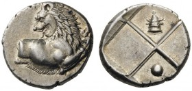 GREEK COINS   Thrace   Chersonesos , c. 386-338 BC. Hemidrachm (Silver, 13mm, 2.39g). Forepart of a lion to right, his head turned back to left. Rev....