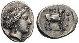 GREEK COINS   Macedon   Aineia, mid 4th century BC. Tetradrachm (Silver, 25mm, 14.11g 4). Head of the nymph Aineia to right, wearing wreath of leaves...