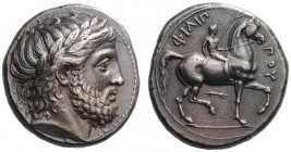 GREEK COINS   Kings of Macedon   Philip II, 359-336 BC. Tetrad­rachm (Silver, 24mm, 14.49g 12), Pella, 342/1-337/6. Laureate head of Zeus to right. R...