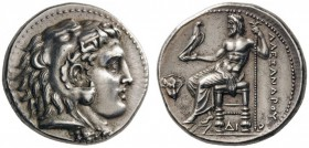 GREEK COINS   Kings of Macedon   Alexander III  'the Great', 336-323 BC. Tetradrachm (Silver, 27mm, 17.19g 10), Memp­his, c. 332-323. Head of Herakle...