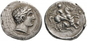 GREEK COINS   Kings of Paeonia   Patraos, c. 335-315 BC. Tetradrachm (Silver, 27mm, 12.69g 11). Laureate head of Apollo to right. Rev. ΠΑ-ΤΡΑΟΥ Paeon...