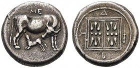 GREEK COINS   Illyria   Dyrrhachion, c. 450-350 BC. Stater (Silver, 21mm, 10.35g 3). Cow standing to right, turning her head back to left to lick cal...
