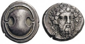 GREEK COINS   Boeotia   Thebes, c. 405-395 BC. Stater (Silver, 20mm, 11.91g). Boeotian shield. Rev. Θ - Ε Bearded head of Dionysos, three-quarters fa...