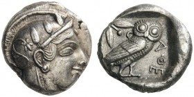 GREEK COINS   Attica   Athens, c. 455-449 BC. Tetradrachm (Silver, 23mm, 16.97g 10). Head of Athena right, wearing Attic helmet adorned with three ol...