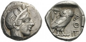 GREEK COINS   Attica   Athens, c. 455-449 BC. c. 430s BC. Tetradrachm (Silver, 23mm, 17.16g 5). Head of Athena to right, wearing disc earring, pearl ...