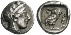 GREEK COINS   Attica   Athens, c. 455-449 BC. Drachm (Silver, 13mm, 4.18g 2). Head of Athena to right, wearing crested Attic helmet adorned with oliv...