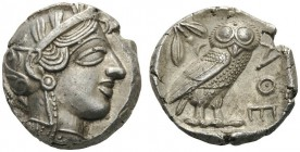 GREEK COINS   Attica   Athens, c. 455-449 BC. Tetradrachm (Silver, 24mm, 17.20g 9). Head of Athena to right, wearing disc earring, pearl necklace and...