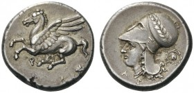GREEK COINS   Corinthia   Corinth, c. 345-307 BC. Stater (Silver, 19mm, 8.59g 2). Ϙ Pegasus flying left with pointed wing. Rev. Α Ρ Head of Aphrodite...