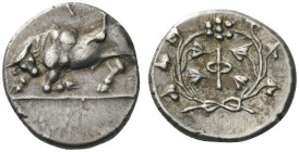 GREEK COINS   Phliasia   Phlious, c. 280-270 BC. Hemidrachm (Sil­ver, 15mm, 2.66g 7). Bull butting to left, head lowered and turned to face the viewe...