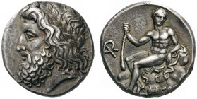 GREEK COINS   Arkadia   Arkadian League. Megalopolis , Summer 363 - Spring 362 BC. Stater (Silver, 21mm, 12.13g 9), signed on the reverse by the magi...