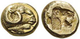 GREEK COINS   Lesbos   Mytilene, c. 500 BC. Hekte (Electrum, 9mm, 2.55g 5). Ram's head to right; below, rooster feeding to left. Rev. Lion's head wit...