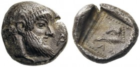 GREEK COINS   Ionia   Magnesia ad Maeandrum. Archepolis, c. 459 BC. Trihemiobol (Silver, 8mm, 1.03g 10). [Α]-Ρ Dia­demed head of Zeus to right, with ...