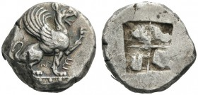 GREEK COINS   Ionia   Teos, c. 500-475 BC. Stater (Silver, 19mm, 11.82g). Μ Ε Griffin, with open mouth, seated to right on orna­mental pedestal, his ...