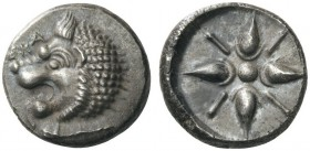 GREEK COINS   Satraps of Caria   Hekatomnos, c. 392/1-377/6 BC. Drachm (Silver, 15mm, 4.25g). ΕΚΑ Head of a roaring lion to left, his leg stretched t...