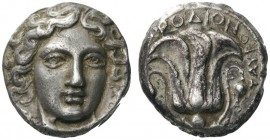 GREEK COINS   Islands off Caria   Rhodos. Rhodes, c . 408/7-404 BC. Tetradrachm (Silver, 21mm, 15.25g 12), signed by Tauro.... Head of Helios facing,...