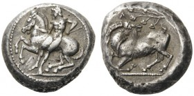 GREEK COINS   Cilicia   Kelenderis, c. 430-420 BC. Stater (Silver, 22mm, 10.64g 11). Youthful nude rider holding the reins with his right hand and a ...