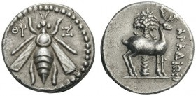 GREEK COINS   Phoenicia   Arados, c. 172/1-111/0 BC. Drachm (Sil­ver, 16mm, 4.11g 1), year 99 = 161/0 BC. Bee with straight wings; to left, date ΘϘ (...
