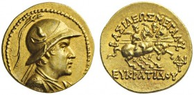 GREEK COINS   Baktria   Greco-Baktrian Kingdom. Eukratides I, c. 170-145 BC. Stater (Gold, 20mm, 8.52g 12), c. later 160s. Diademed and draped bust o...