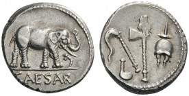 ROMAN AND BYZANTINE COINS   Julius Caesar. Denarius (Silver, 17mm, 3.89g 2), mint moving with Caesar, 49-48 BC. CAESAR Elephant tram­pling serpent to...