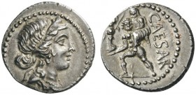 ROMAN AND BYZANTINE COINS   Julius Caesar. Denarius (Silver, 17mm, 3.91g 6), mili­tary mint traveling with Caesar in North Africa, late 48-47 BC. Dia...