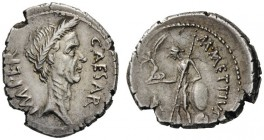 ROMAN AND BYZANTINE COINS   Julius Caesar. Denarius (Silver, 17mm, 3.90g 9), struck by the magistrate M. Mettius, late March 44 BC. CAESAR IMPER Laur...