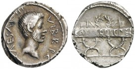 ROMAN AND BYZANTINE COINS   Octavian, Denarius (Silver, 18mm, 3.99g 4), military mint traveling with Octavian in Italy, 42 BC. CAESAR.III.VIR.R.P.C. ...