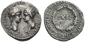 ROMAN AND BYZANTINE COINS   Nero, 54-68. Denarius (Silver, 17mm, 3.33g 8), with his mother Agrippina Junior, Rome, October-December 54. AGRIPP AVG DI...