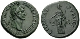 ROMAN AND BYZANTINE COINS   Nerva, AD 96-98. Sestertius (Orichalcum, 32mm, 27.78g 6), Rome, after 18 September 97. IMP NERVA CAES AVG P M TR P II COS...