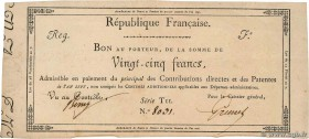 Country : FRANCE  Face Value : 25 Francs  Date : 01 janvier 1720  Period/Province/Bank : Assignats  Catalogue reference : Laf.215  Additional referenc...