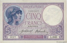 Country : FRANCE  Face Value : 5 Francs VIOLET  Date : 02 février 1918  Period/Province/Bank : Banque de France, XXe siècle  Catalogue reference : F.0...