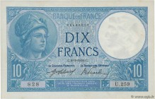 Country : FRANCE  Face Value : 10 Francs MINERVE  Date : 09 février 1916  Period/Province/Bank : Banque de France, XXe siècle  Catalogue reference : F...